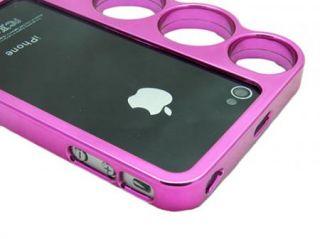 Black Hot Pink Brass Knuckles Hard Rim Bumper Case Bundle for iPhone 4