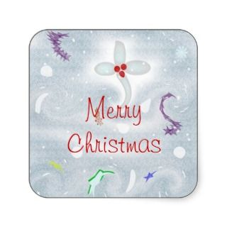 Merry Christmas Wishes Blizzard Boogie Square Stickers