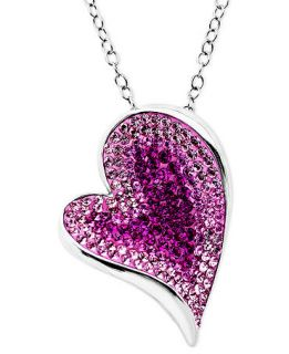 Kaleidoscope Sterling Silver Necklace, Pink Crystal Heart Pendant with