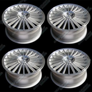 Silver Machined Lip Wheels 18x8 5 Rims w Central Cap Logo 4pc