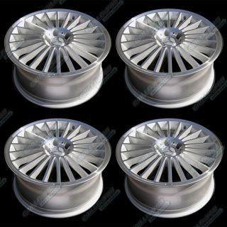 Silver Machined Lip Wheels 18x8 5 Rims w Central Cap Logo 4pc