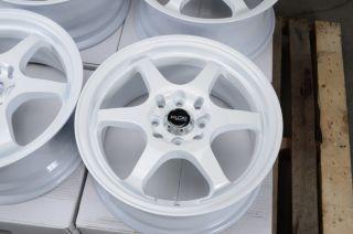 15 4x114 3 4x100 White Rims Yaris Del Sol galant Civic Lancer Miata 4