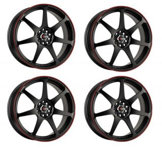 Drag DR33 17 Rims 5 Lugs Black Face w Red Lip Wheels