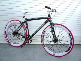 Fixed Gear Alloy Road Bike 48 cm w Deep 50cm Rim Flat Bladed Spokes
