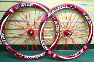 Fixed Gear 700c Wheels SEALED Bearing Deep 50mm Red Rims Red Flat