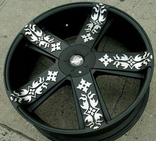 KMC InkD 669 22 Black Rims Wheels Jeep Grand Cherokee 99 Up 22 x 8 5