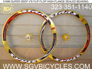 51mm Stars Gold Wheels Fixed Gear Fixie Track Bike