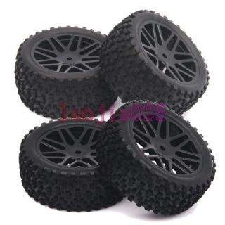 RC 1 10 Off Road Buggy Car Front Rear Tyre Tires Wheel Rim Black 66015