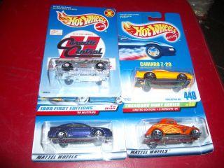 Hot Wheels Lot 4 Cars on Card Mustang Corvette Camaro
