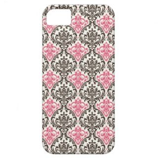 Pink and Brown Floral Damask iPhone Case iPhone 5 Cases