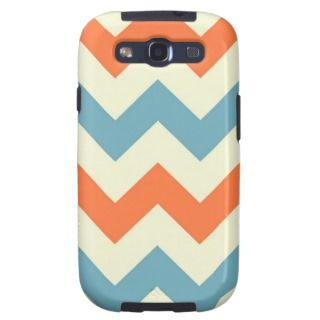 Orange blue chevron zigzag stripes zig zag pattern samsung galaxy SIII