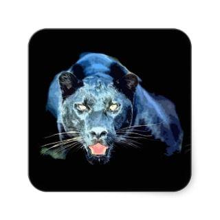 Jaguar   Black Panther Cat Square Stickers