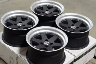 15x8 4x100 Black Rims Integra Civic Lancer Jetta Miata Low Offset 4
