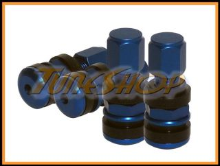 Forged Aluminum Blue Wheels Rims Tires Valve Stems Caps Japan