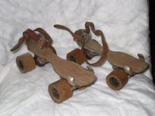 Ware Bros No 87 Chicago Skating Steel Wood Wheels Roller Skates