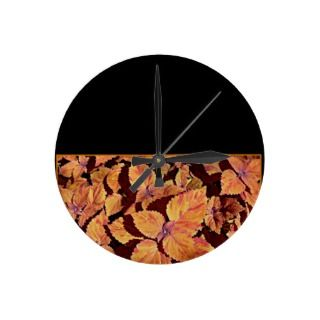 Modern Copper Leaves Wall Clock