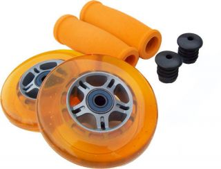 Orange Replacement Razor Scooter Wheels Bearings Grips