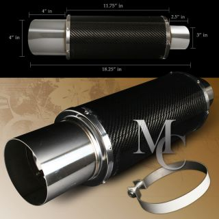 Universal N1 4 Real Full Carbon Fiber Exhaust 3 Inlet Stainless Tip