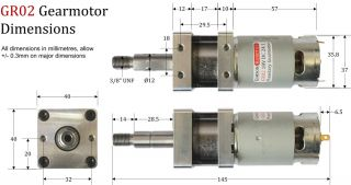 High Power Planetary Gearbox DC Electric Motor, 12V and 18V versions