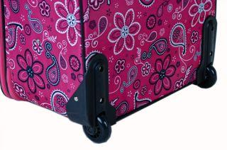 Rockland Designer 4 PC Luggage Set Pink Bandana $580