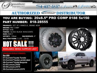 SALE 20x8.5 Pro Comp 8188 Gloss Black Wheels 5x150   Toyota Tundra