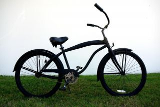 Cruiser Bike Bicycle Single Speed Color Flat Black w/ Black Wheels