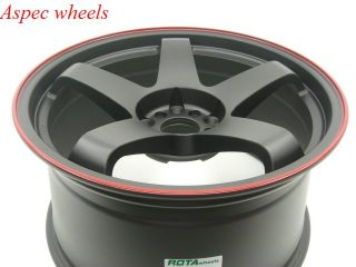 18x8 5 Rota P 45F 5x114 3 25 Flat Black Red Lip Wheel Fits G35 G37 TSX