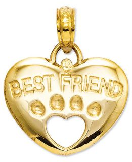 14k Gold Charm, Best Friend Paw Heart Charm   Bracelets   Jewelry