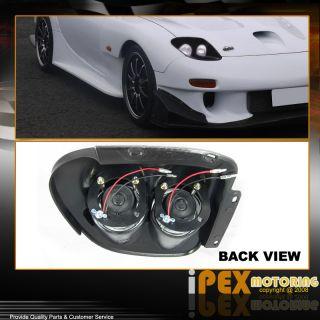 93 97 Mazda RX 7 JDM Black Style Dual Halo Rim Glass Lens Head Light