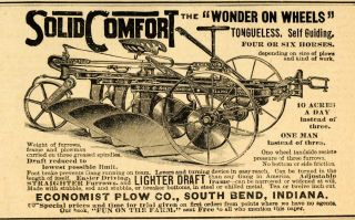 1893 Ad Economist Comfort Self Guiding Antique Horse Plow Farm