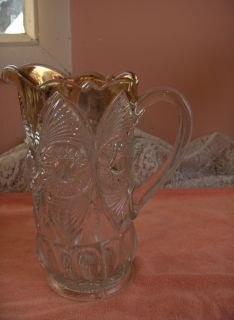 PC Set Antique Pressed Glass 6 Goblets 1 Pitcher Sunburst Fans Gold