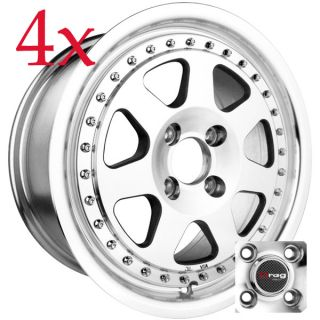 Drag Wheels Dr 27 15x7 4x100 Machined Face Rims Civic Integra Corolla