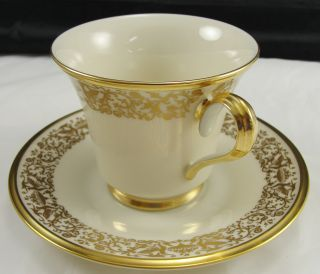 Lenox Tuscany Fine China Cup Saucer Set Gold Trim