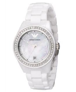 Emporio Armani Watch, Womens Chronograph White Ceramic Bracelet