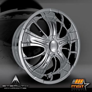22x9.5 Black Chrome MST 577 Wheels 5x5 5x5.5 +30 JEEP GRAND CHEROKEE