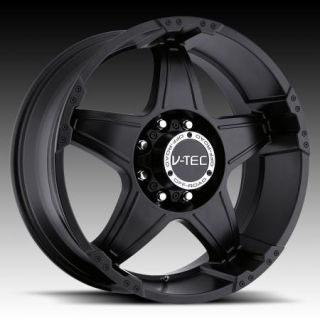 ET 0 MATTE BLACK VTEC 395 WIZARD WHEELS RIMS 8 165.1 CHEVY DODGE 8 LUG