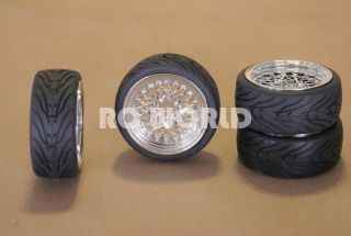 RC 1/10 CAR TIRES WHEELS RIMS PACKAGE SEMI  SLICKS KYOSHO TAMIYA HPI