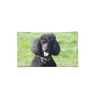 Standard Poodle dog black beautiful photo Makeup Bag