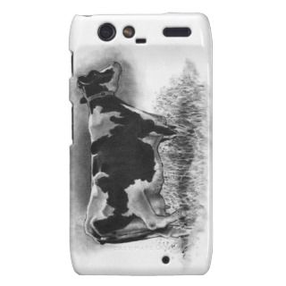 Holstein Cow Original Pencil Drawing Dairy Motorola Droid RAZR Case