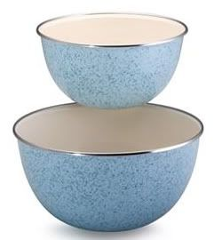 Paula Deen Enamel on Steel Mixing Bowl Blue 2 Piece Set