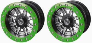Green Single Beadlock Wheels 12 12x8 3 5 4 137 Commander 1000