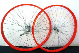 Cruiser Bike 26x2.125 Rear & Front Wheels Rims w coaster Brake Orange