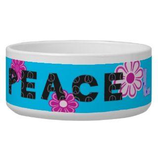 Peace Love Woof Retro Mod Flowers Dog Bowl