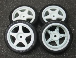 10 KUMHO ECSTA 26mm Slick Rubber Tire set(4) Star Wheel TT01 TRAXXAS