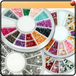 20 Mix Style Nail Art Glitter Rhinestones Wheels Kit