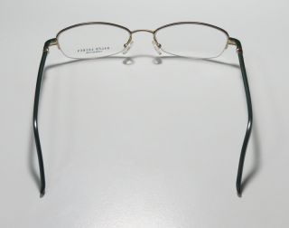 1504 50 18 130 Gold Green Semi Rim Eyeglass Glasses Frames