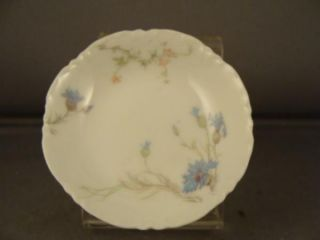 Haviland Limoges Blue Pink Floral Salt or Butter Pat
