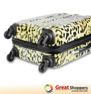 New Light Weight Leopard Pattern Trolley Luggage Travel Hard Case 20