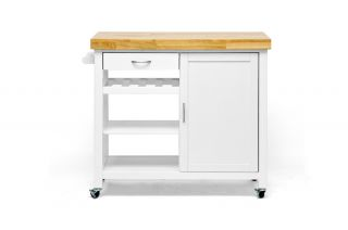 White Modern Kitchen Cart with Butcher Block Top RT185 OCC