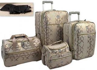 Heys Travel Concepts Snakeskin Expandable 4 PC Luggage Set Ivory Off